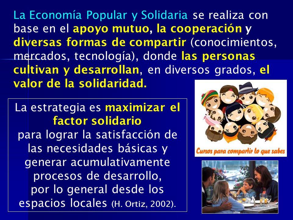 La Economía Popular y Solidaria se realiza con base en el apoyo mutuo, la cooperación y diversas formas de compartir (conocimientos, mercados, tecnolo