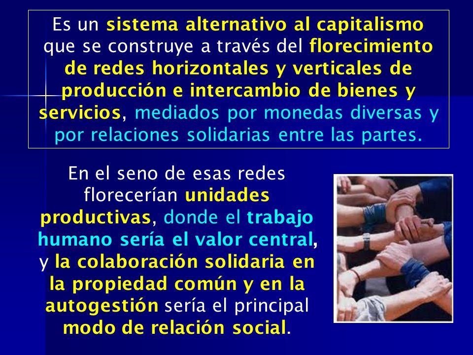 Es un sistema alternativo al capitalismo que se construye a través del florecimiento de redes horizontales y verticales de producción e intercambio de