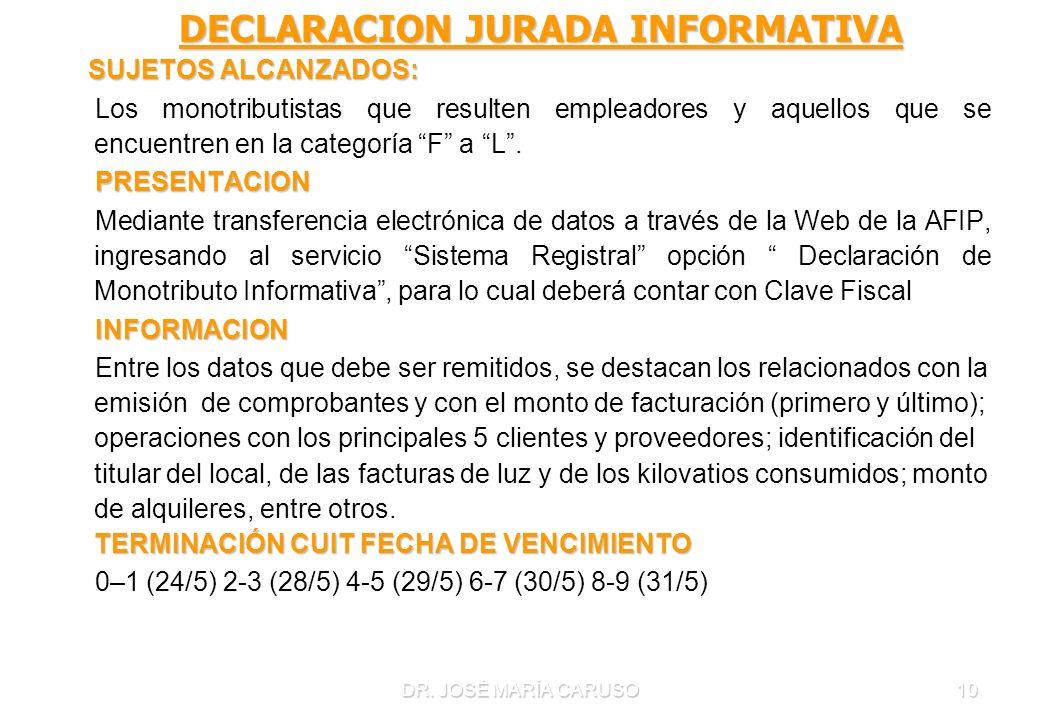 DR. JOSÉ MARÍA CARUSO10 DECLARACION JURADA INFORMATIVA DECLARACION JURADA INFORMATIVA SUJETOS ALCANZADOS: SUJETOS ALCANZADOS: Los monotributistas que