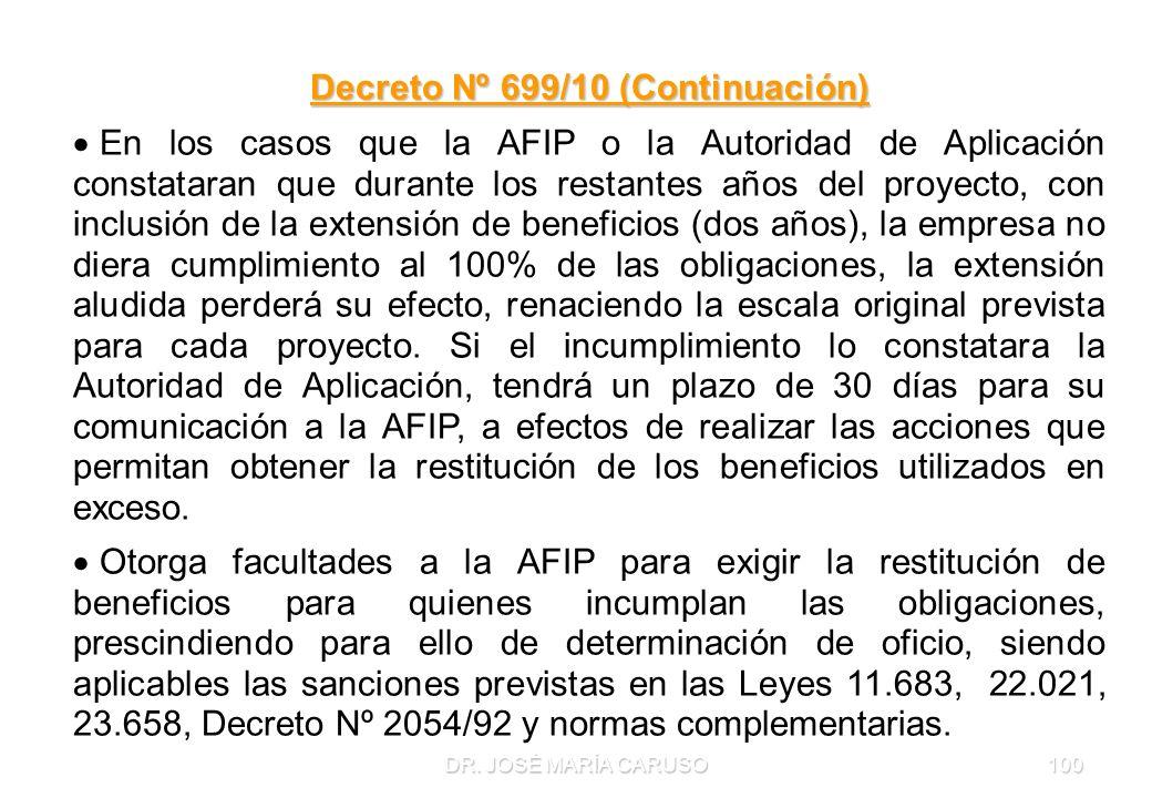 DR. JOSÉ MARÍA CARUSO100 Decreto Nº 699/10 (Continuación) En los casos que la AFIP o la Autoridad de Aplicación constataran que durante los restantes