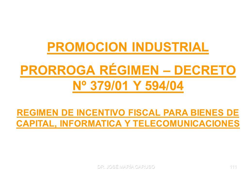 DR. JOSÉ MARÍA CARUSO111 PROMOCION INDUSTRIAL PRORROGA RÉGIMEN – DECRETO Nº 379/01 Y 594/04 REGIMEN DE INCENTIVO FISCAL PARA BIENES DE CAPITAL, INFORM