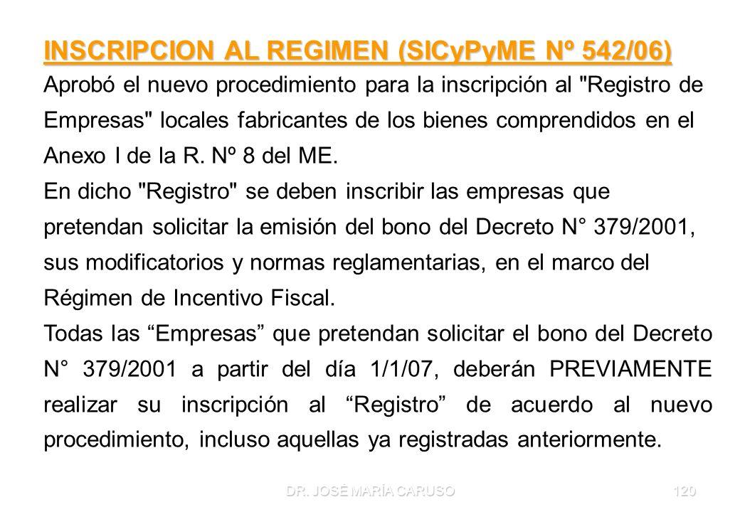 DR. JOSÉ MARÍA CARUSO120 INSCRIPCION AL REGIMEN (SICyPyME Nº 542/06) Aprobó el nuevo procedimiento para la inscripción al