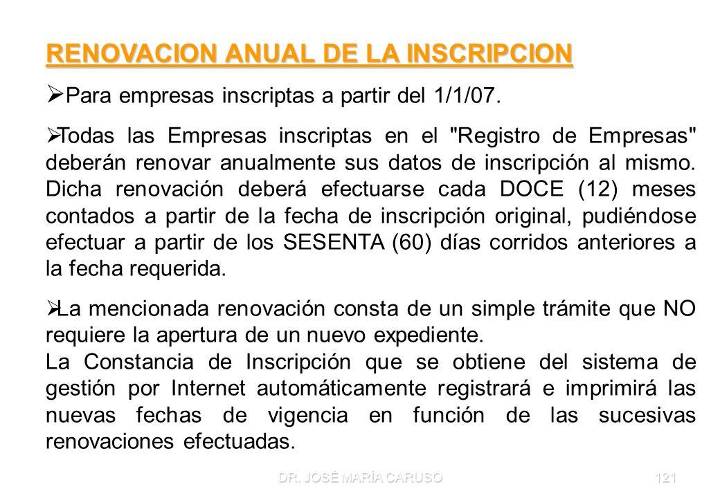 DR. JOSÉ MARÍA CARUSO121 RENOVACION ANUAL DE LA INSCRIPCION Para empresas inscriptas a partir del 1/1/07. Todas las Empresas inscriptas en el