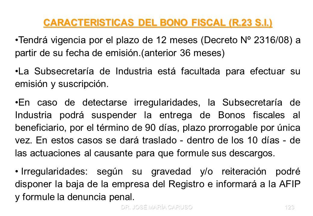 DR. JOSÉ MARÍA CARUSO123 CARACTERISTICAS DEL BONO FISCAL (R.23 S.I.) Tendrá vigencia por el plazo de 12 meses (Decreto Nº 2316/08) a partir de su fech