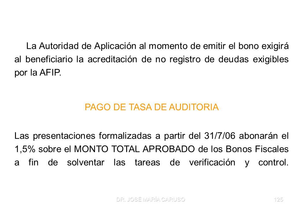 DR. JOSÉ MARÍA CARUSO125 D) El bono admitirá un solo endoso. E) La Autoridad de Aplicación al momento de emitir el bono exigirá al beneficiario la acr