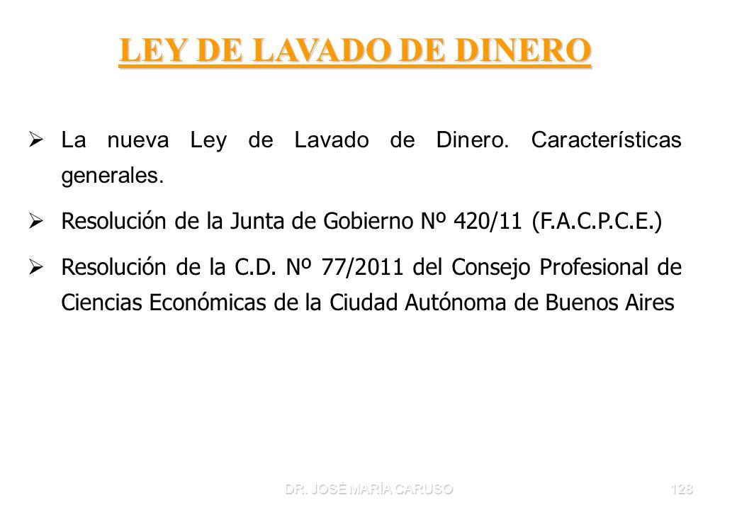 DR. JOSÉ MARÍA CARUSO128 LEY DE LAVADO DE DINERO La nueva Ley de Lavado de Dinero. Características generales. Resolución de la Junta de Gobierno Nº 42