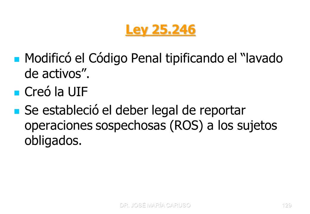 DR. JOSÉ MARÍA CARUSO129 Ley 25.246 Ley 25.246 Modificó el Código Penal tipificando el lavado de activos. Creó la UIF Se estableció el deber legal de