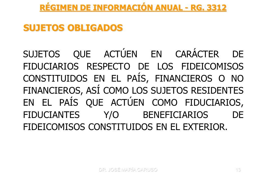DR. JOSÉ MARÍA CARUSO13 RÉGIMEN DE INFORMACIÓN ANUAL - RG. 3312 RÉGIMEN DE INFORMACIÓN ANUAL - RG. 3312 SUJETOS OBLIGADOS SUJETOS OBLIGADOS SUJETOS QU