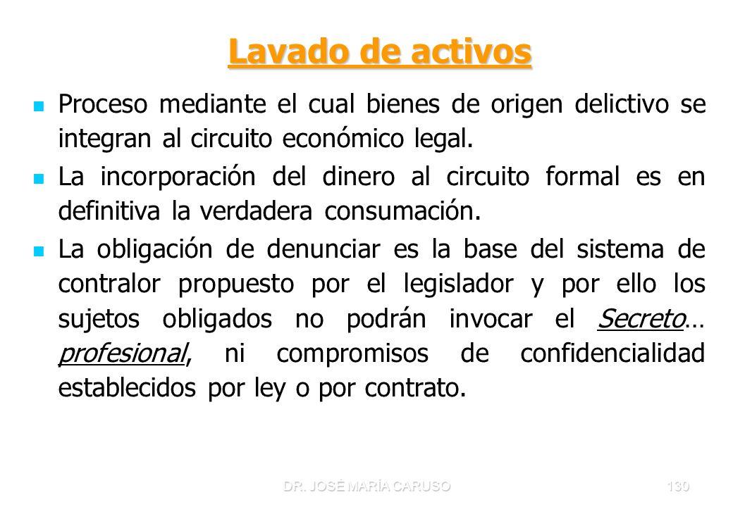DR. JOSÉ MARÍA CARUSO130 Lavado de activos Lavado de activos Proceso mediante el cual bienes de origen delictivo se integran al circuito económico leg