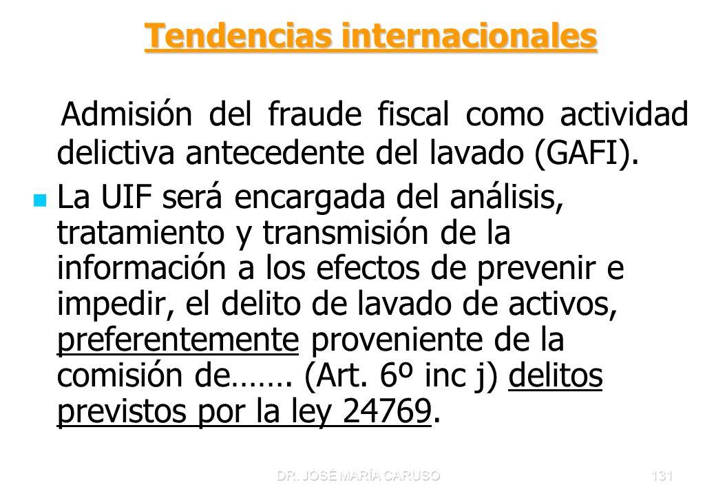 DR. JOSÉ MARÍA CARUSO131 Tendencias internacionales Tendencias internacionales Admisión del fraude fiscal como actividad delictiva antecedente del lav