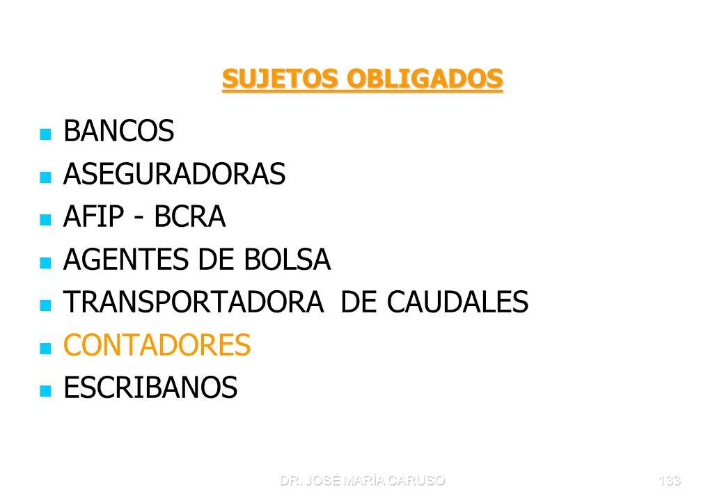 DR. JOSÉ MARÍA CARUSO133 SUJETOS OBLIGADOS BANCOS ASEGURADORAS AFIP - BCRA AGENTES DE BOLSA TRANSPORTADORA DE CAUDALES CONTADORES ESCRIBANOS