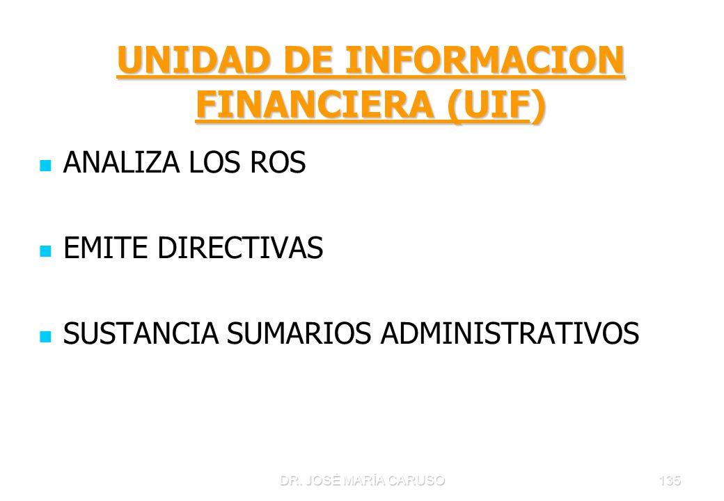DR. JOSÉ MARÍA CARUSO135 UNIDAD DE INFORMACION FINANCIERA (UIF) ANALIZA LOS ROS EMITE DIRECTIVAS SUSTANCIA SUMARIOS ADMINISTRATIVOS