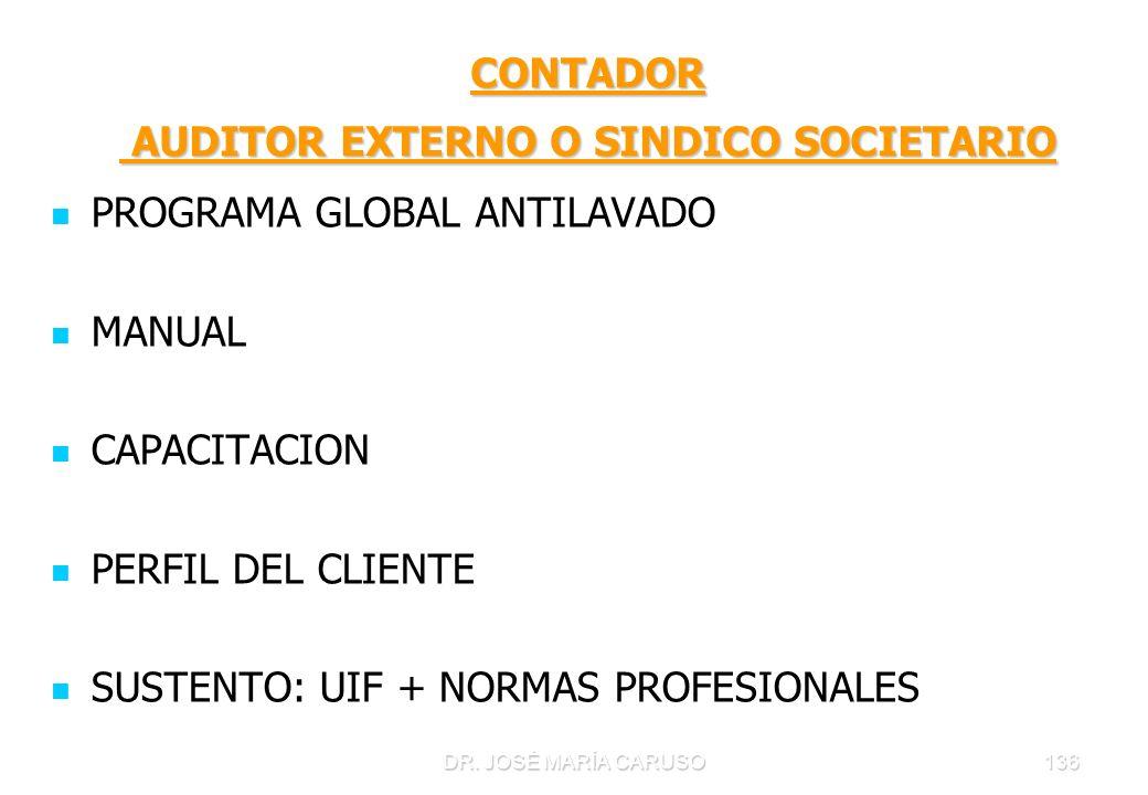 DR. JOSÉ MARÍA CARUSO136 CONTADOR AUDITOR EXTERNO O SINDICO SOCIETARIO PROGRAMA GLOBAL ANTILAVADO MANUAL CAPACITACION PERFIL DEL CLIENTE SUSTENTO: UIF