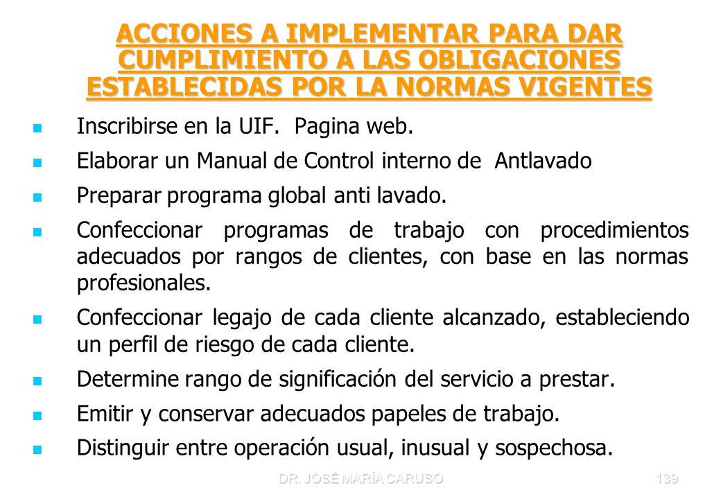 DR. JOSÉ MARÍA CARUSO139 ACCIONES A IMPLEMENTAR PARA DAR CUMPLIMIENTO A LAS OBLIGACIONES ESTABLECIDAS POR LA NORMAS VIGENTES Inscribirse en la UIF. Pa