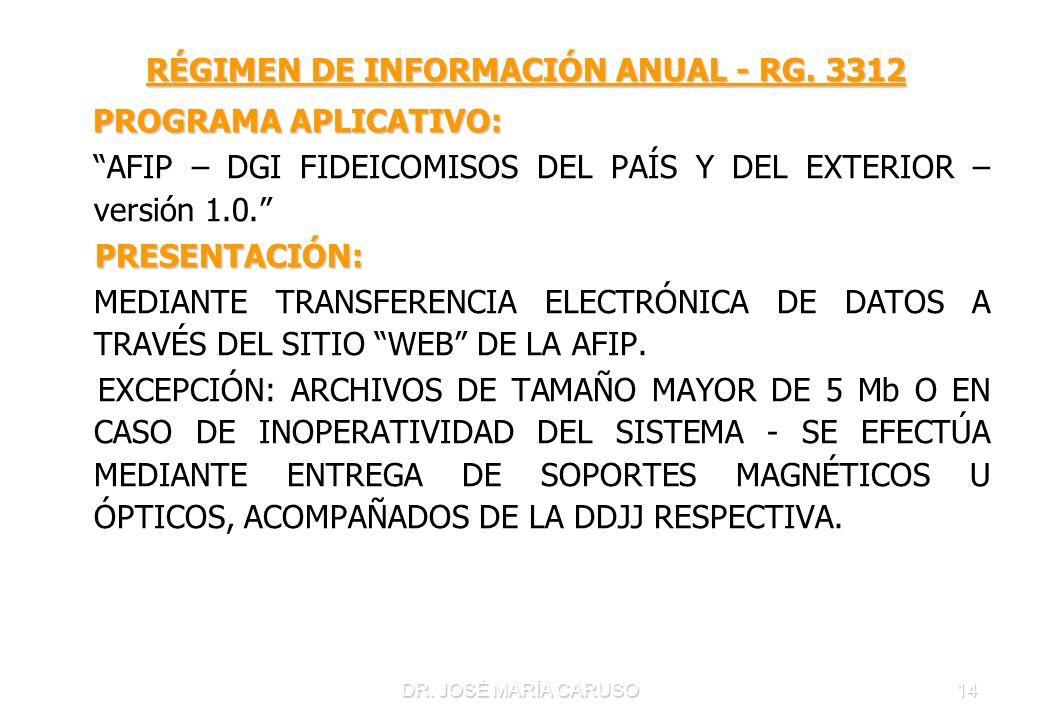 DR. JOSÉ MARÍA CARUSO14 RÉGIMEN DE INFORMACIÓN ANUAL - RG. 3312 RÉGIMEN DE INFORMACIÓN ANUAL - RG. 3312 PROGRAMA APLICATIVO: PROGRAMA APLICATIVO: AFIP