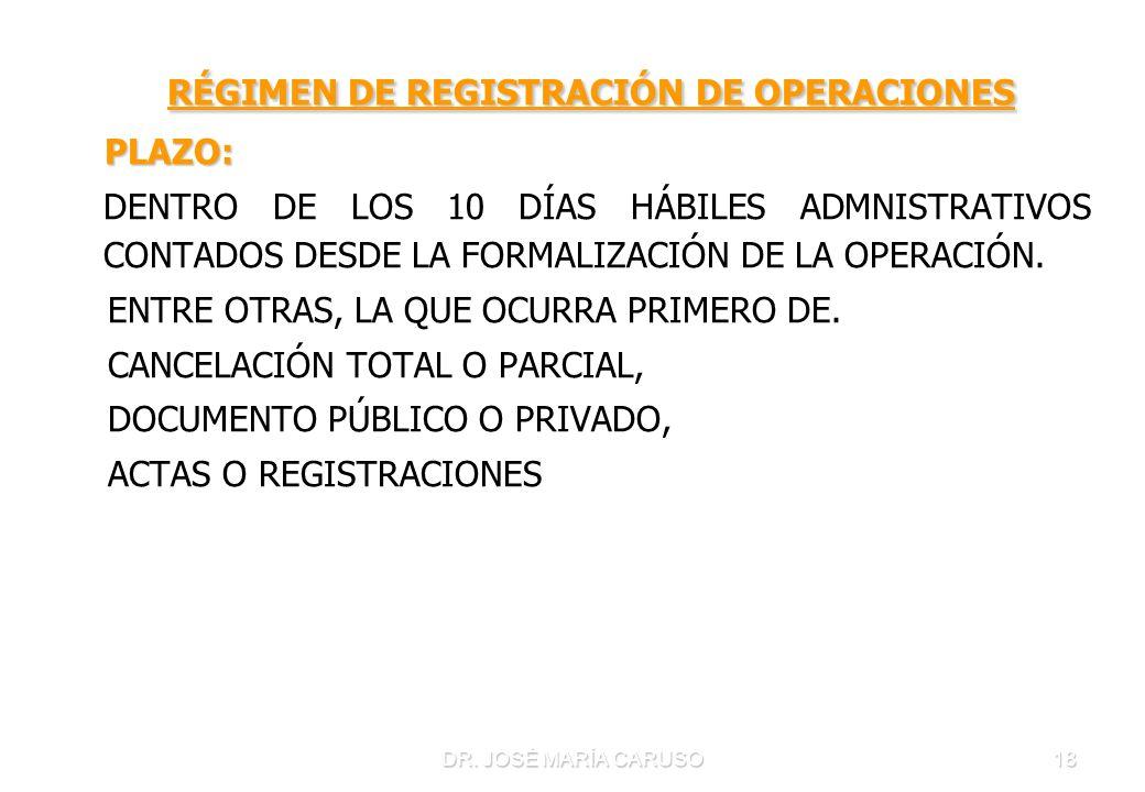 DR. JOSÉ MARÍA CARUSO18 RÉGIMEN DE REGISTRACIÓN DE OPERACIONES RÉGIMEN DE REGISTRACIÓN DE OPERACIONES PLAZO: PLAZO: DENTRO DE LOS 10 DÍAS HÁBILES ADMN