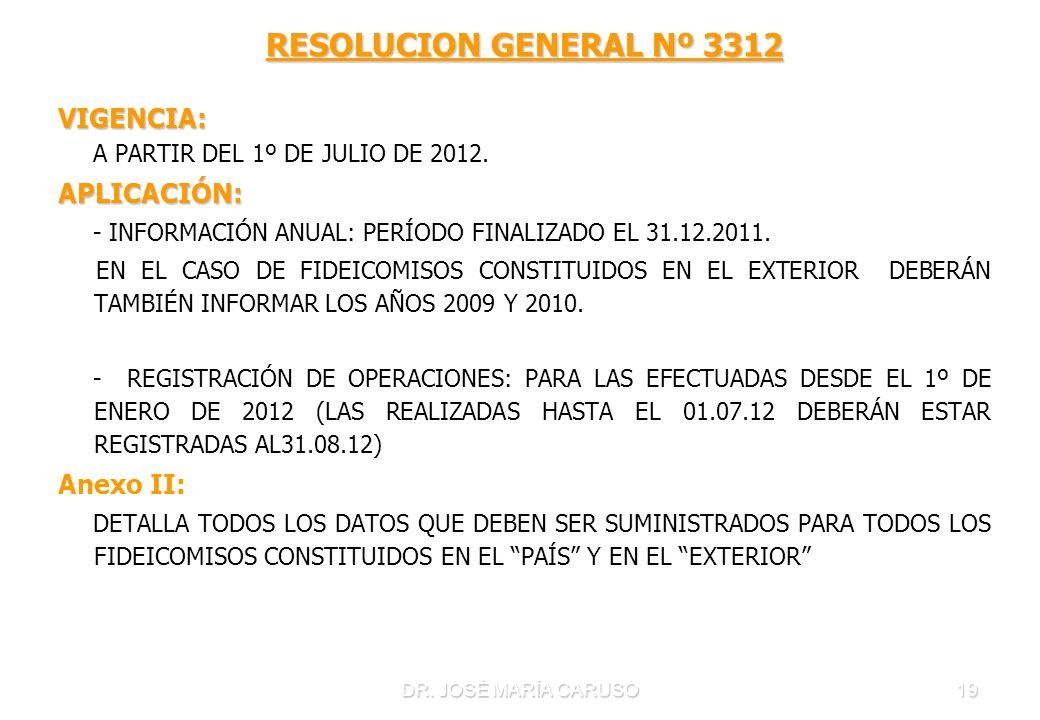 DR. JOSÉ MARÍA CARUSO19 RESOLUCION GENERAL Nº 3312 VIGENCIA: A PARTIR DEL 1º DE JULIO DE 2012.APLICACIÓN: - INFORMACIÓN ANUAL: PERÍODO FINALIZADO EL 3