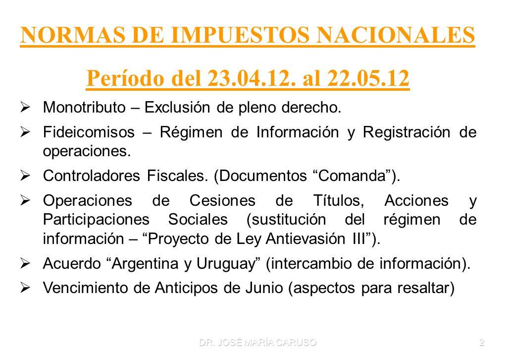 DR. JOSÉ MARÍA CARUSO2 NORMAS DE IMPUESTOS NACIONALES Período del 23.04.12. al 22.05.12 Monotributo – Exclusión de pleno derecho. Fideicomisos – Régim
