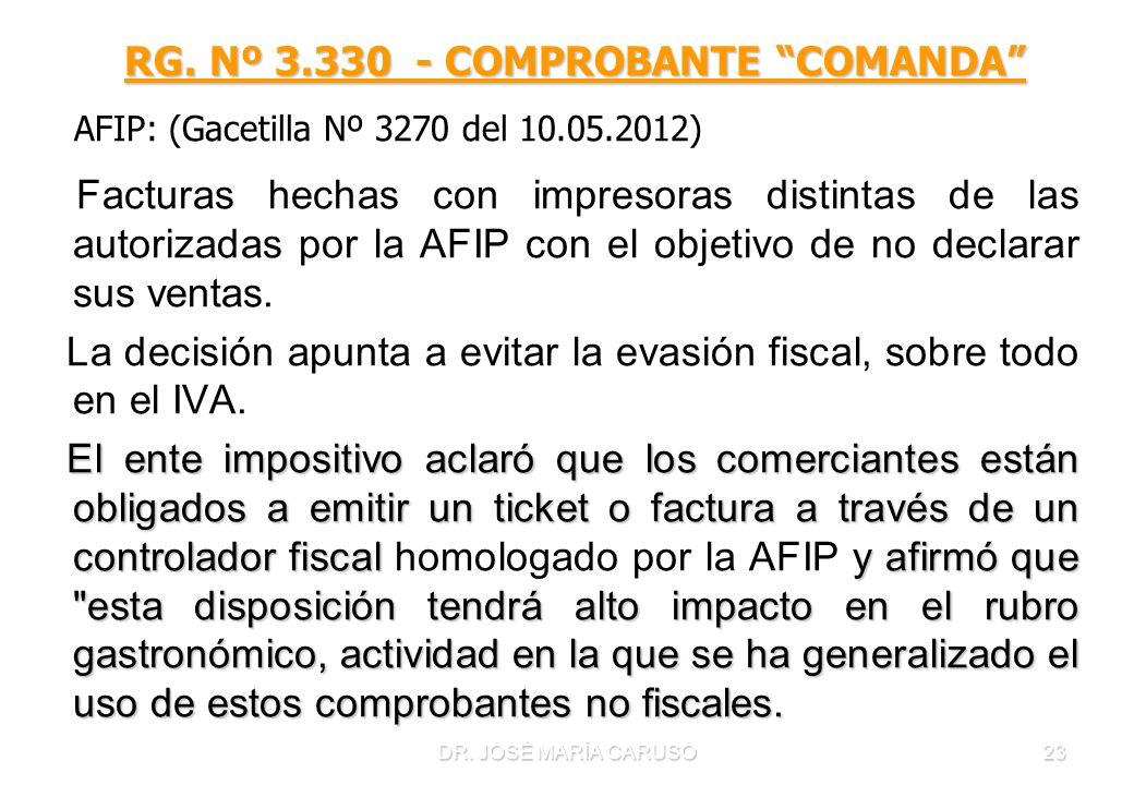 DR. JOSÉ MARÍA CARUSO23 RG. Nº 3.330 - COMPROBANTE COMANDA RG. Nº 3.330 - COMPROBANTE COMANDA AFIP: (Gacetilla Nº 3270 del 10.05.2012) Facturas hechas