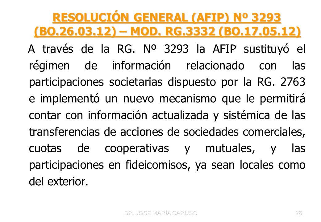 DR. JOSÉ MARÍA CARUSO26 RESOLUCIÓN GENERAL (AFIP) Nº 3293 (BO.26.03.12) – MOD. RG.3332 (BO.17.05.12) RESOLUCIÓN GENERAL (AFIP) Nº 3293 (BO.26.03.12) –