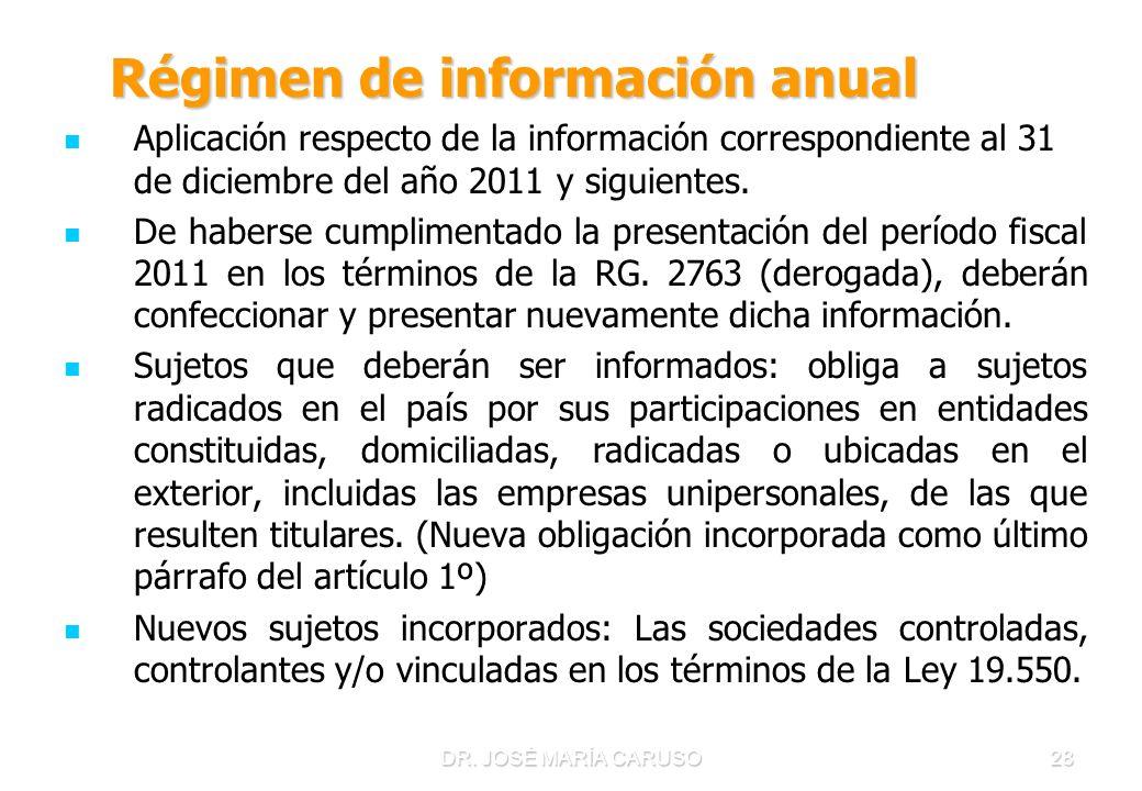DR. JOSÉ MARÍA CARUSO28 Régimen de información anual Régimen de información anual Aplicación respecto de la información correspondiente al 31 de dicie
