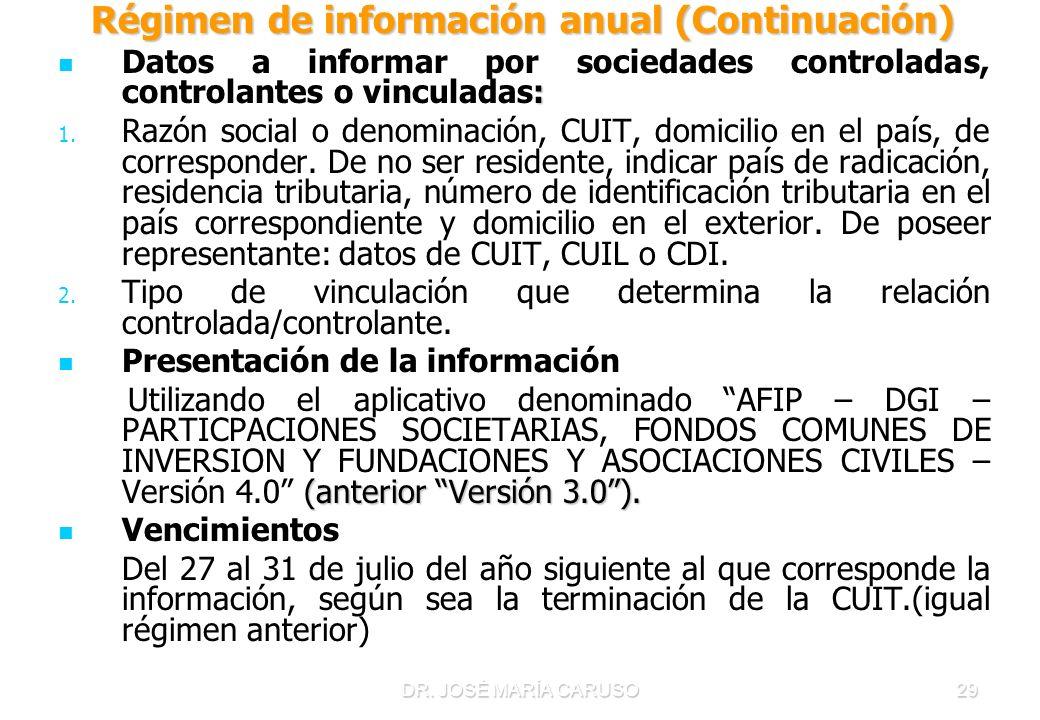 DR. JOSÉ MARÍA CARUSO29 Régimen de información anual (Continuación) Régimen de información anual (Continuación) : Datos a informar por sociedades cont