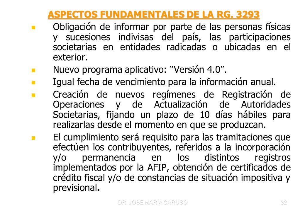 DR. JOSÉ MARÍA CARUSO32 ASPECTOS FUNDAMENTALES DE LA RG. 3293 Obligación de informar por parte de las personas físicas y sucesiones indivisas del país