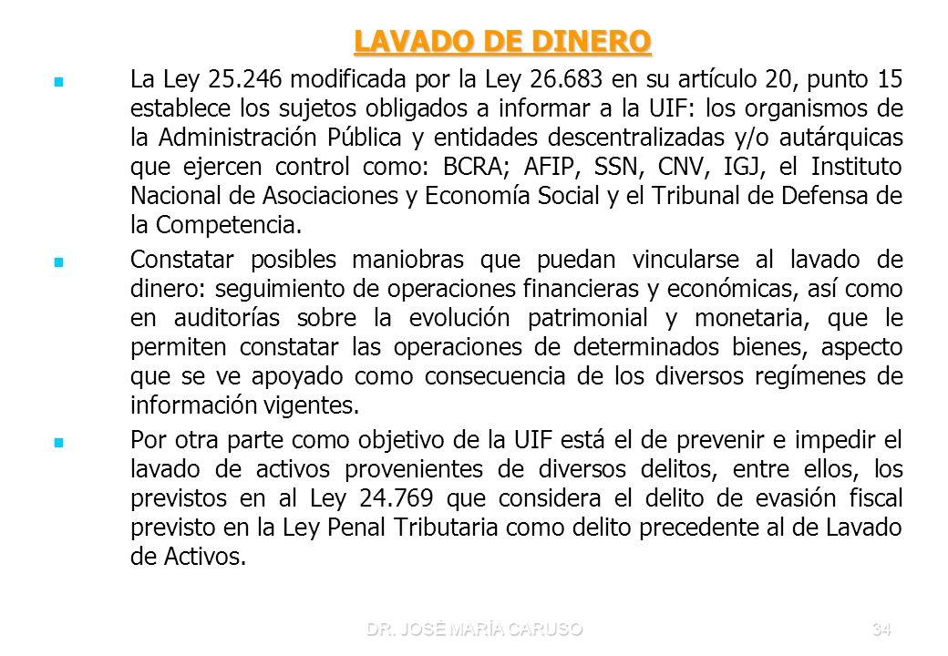 DR. JOSÉ MARÍA CARUSO34 LAVADO DE DINERO LAVADO DE DINERO La Ley 25.246 modificada por la Ley 26.683 en su artículo 20, punto 15 establece los sujetos