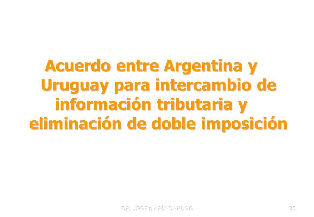 DR. JOSÉ MARÍA CARUSO35 Acuerdo entre Argentina y Uruguay para intercambio de información tributaria y eliminación de doble imposición