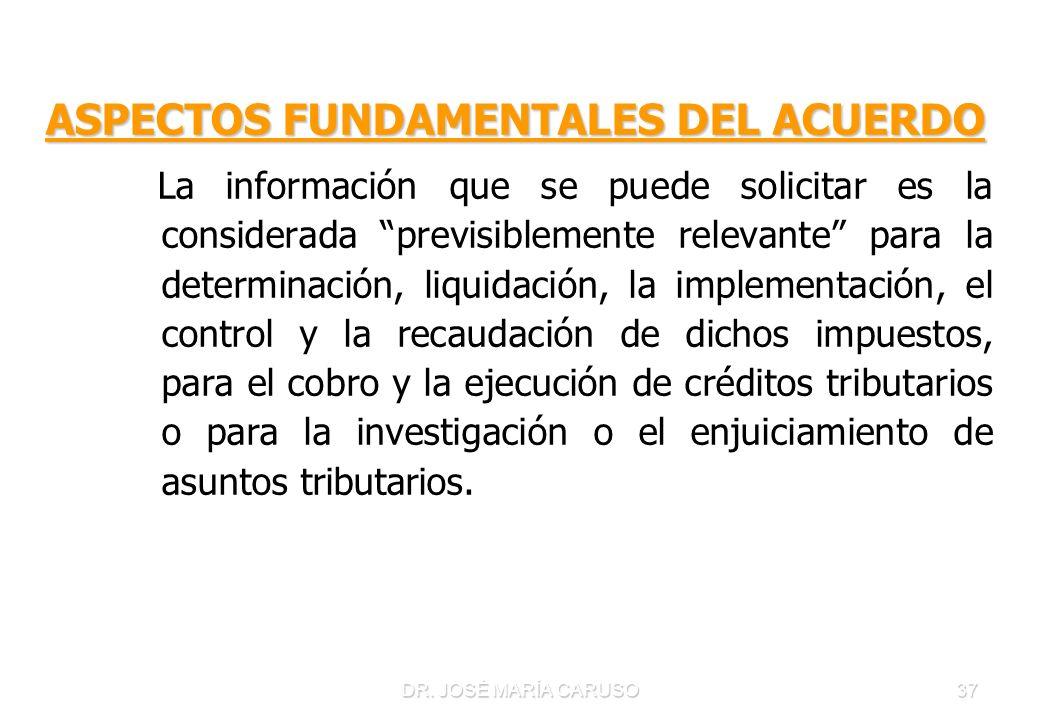 DR. JOSÉ MARÍA CARUSO37 ASPECTOS FUNDAMENTALES DEL ACUERDO La información que se puede solicitar es la considerada previsiblemente relevante para la d