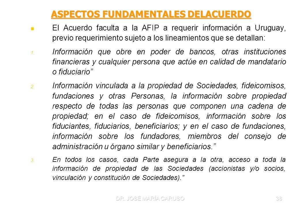 DR. JOSÉ MARÍA CARUSO38 ASPECTOS FUNDAMENTALES DELACUERDO El Acuerdo faculta a la AFIP a requerir información a Uruguay, previo requerimiento sujeto a