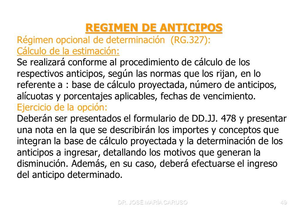 DR. JOSÉ MARÍA CARUSO49 REGIMEN DE ANTICIPOS Régimen opcional de determinación (RG.327): Cálculo de la estimación: Se realizará conforme al procedimie