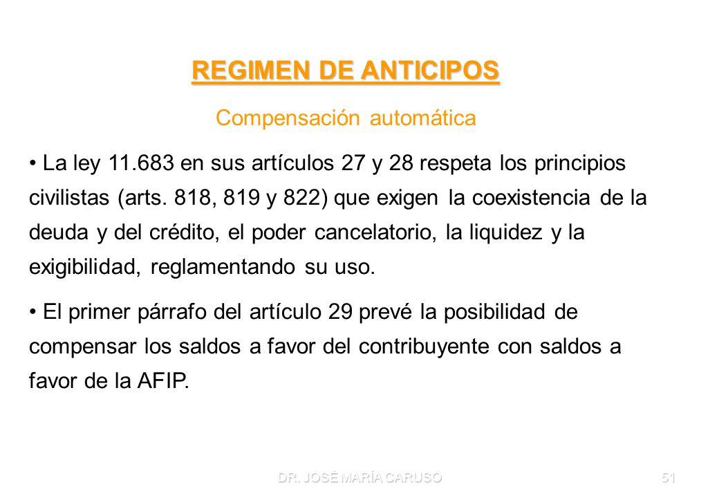 DR. JOSÉ MARÍA CARUSO51 REGIMEN DE ANTICIPOS Compensación automática La ley 11.683 en sus artículos 27 y 28 respeta los principios civilistas (arts. 8