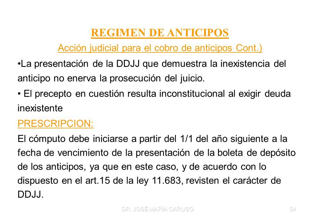 DR. JOSÉ MARÍA CARUSO54 REGIMEN DE ANTICIPOS Acción judicial para el cobro de anticipos Cont.) La presentación de la DDJJ que demuestra la inexistenci