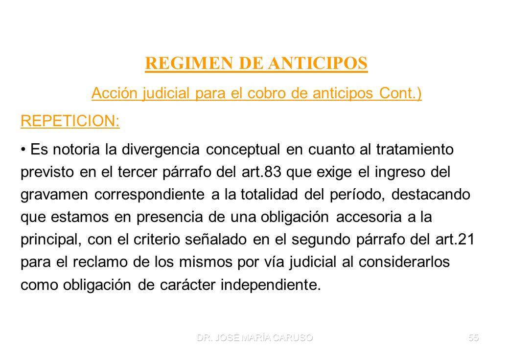 DR. JOSÉ MARÍA CARUSO55 REGIMEN DE ANTICIPOS Acción judicial para el cobro de anticipos Cont.) REPETICION: Es notoria la divergencia conceptual en cua
