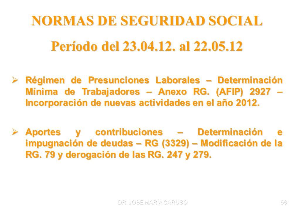 DR. JOSÉ MARÍA CARUSO56 NORMAS DE SEGURIDAD SOCIAL Período del 23.04.12. al 22.05.12 Régimen de Presunciones Laborales – Determinación Mínima de Traba