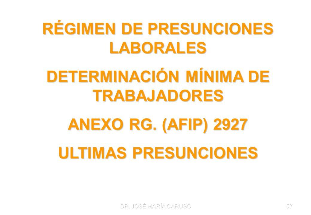 DR. JOSÉ MARÍA CARUSO57 RÉGIMEN DE PRESUNCIONES LABORALES DETERMINACIÓN MÍNIMA DE TRABAJADORES ANEXO RG. (AFIP) 2927 ULTIMAS PRESUNCIONES