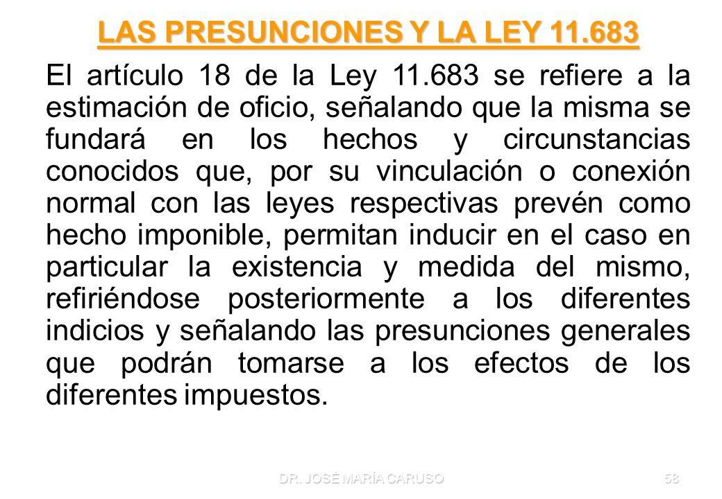DR. JOSÉ MARÍA CARUSO58 LAS PRESUNCIONES Y LA LEY 11.683 El artículo 18 de la Ley 11.683 se refiere a la estimación de oficio, señalando que la misma