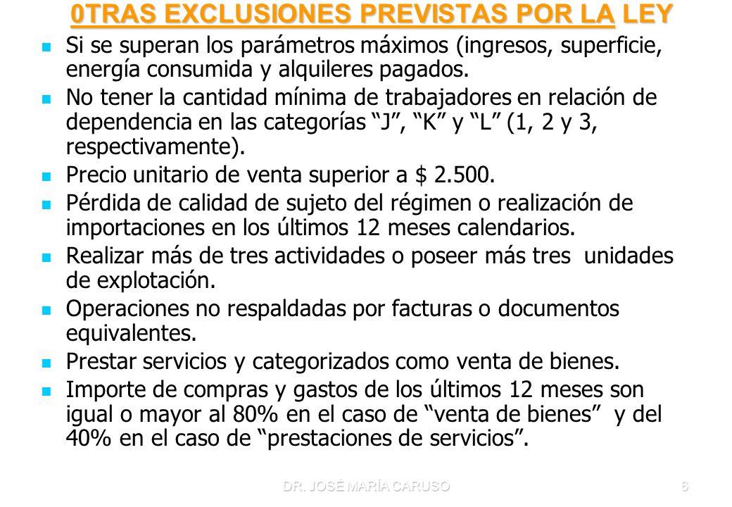 DR. JOSÉ MARÍA CARUSO6 0TRAS EXCLUSIONES PREVISTAS POR LA LEY 0TRAS EXCLUSIONES PREVISTAS POR LA LEY Si se superan los parámetros máximos (ingresos, s