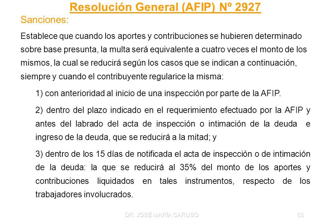 DR. JOSÉ MARÍA CARUSO63 Resolución General (AFIP) Nº 2927 Sanciones: Establece que cuando los aportes y contribuciones se hubieren determinado sobre b