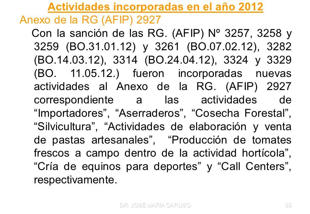 DR. JOSÉ MARÍA CARUSO65 Actividades incorporadas en el año 2012 Anexo de la RG (AFIP) 2927 Con la sanción de las RG. (AFIP) Nº 3257, 3258 y 3259 (BO.3