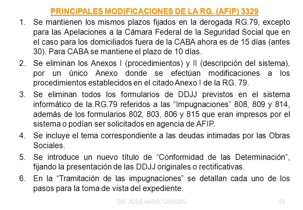 DR. JOSÉ MARÍA CARUSO69 PRINCIPALES MODIFICACIONES DE LA RG. (AFIP) 3329 1.Se mantienen los mismos plazos fijados en la derogada RG.79, excepto para l