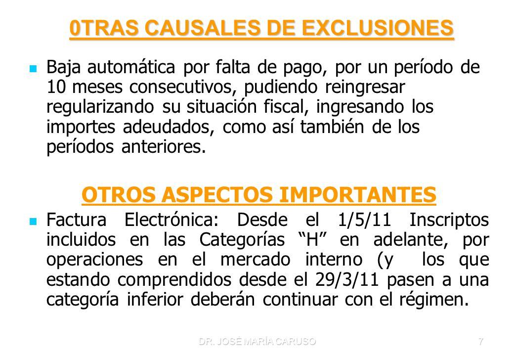 DR. JOSÉ MARÍA CARUSO7 0TRAS CAUSALES DE EXCLUSIONES 0TRAS CAUSALES DE EXCLUSIONES Baja automática por falta de pago, por un período de 10 meses conse