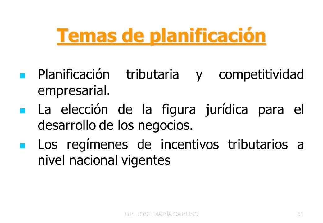81 Temas de planificación Planificación tributaria y competitividad empresarial. La elección de la figura jurídica para el desarrollo de los negocios.