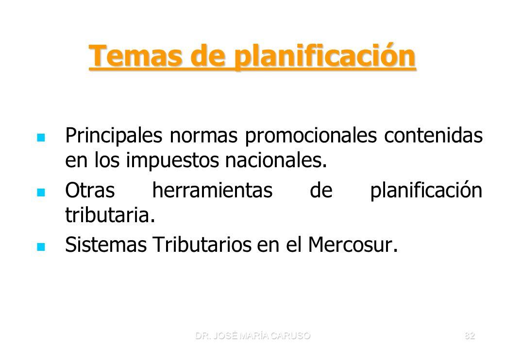 DR. JOSÉ MARÍA CARUSO82 Temas de planificación Principales normas promocionales contenidas en los impuestos nacionales. Otras herramientas de planific