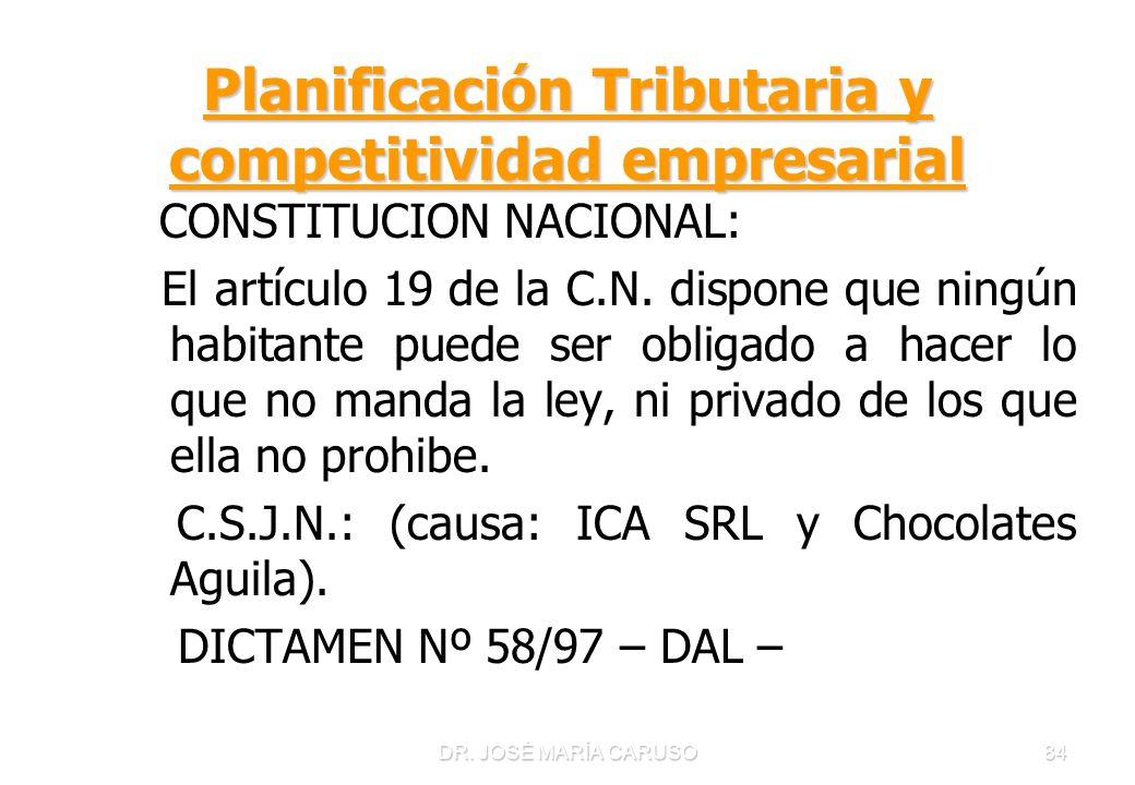 DR. JOSÉ MARÍA CARUSO84 Planificación Tributaria y competitividad empresarial CONSTITUCION NACIONAL: El artículo 19 de la C.N. dispone que ningún habi