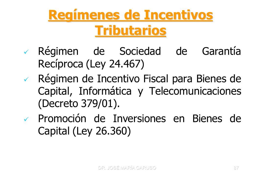 DR. JOSÉ MARÍA CARUSO87 Regímenes de Incentivos Tributarios Régimen de Sociedad de Garantía Recíproca (Ley 24.467) Régimen de Incentivo Fiscal para Bi