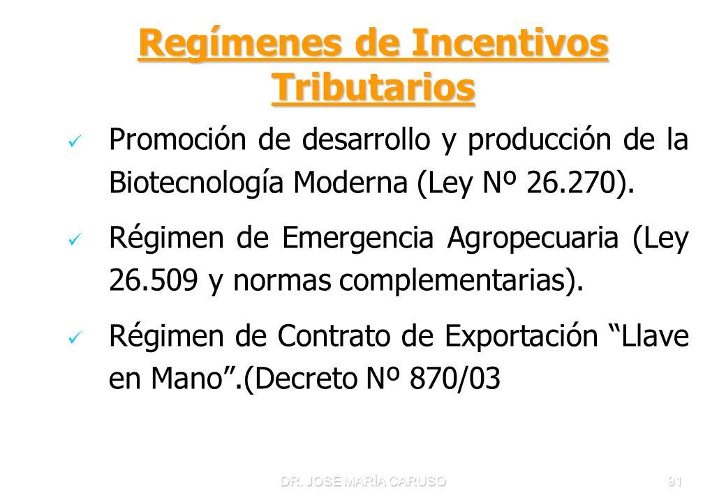 DR. JOSÉ MARÍA CARUSO91 Regímenes de Incentivos Tributarios Promoción de desarrollo y producción de la Biotecnología Moderna (Ley Nº 26.270). Régimen