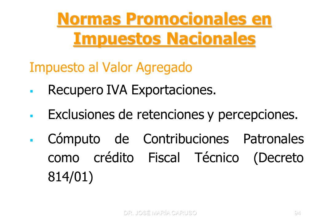 DR. JOSÉ MARÍA CARUSO94 Normas Promocionales en Impuestos Nacionales Impuesto al Valor Agregado Recupero IVA Exportaciones. Exclusiones de retenciones
