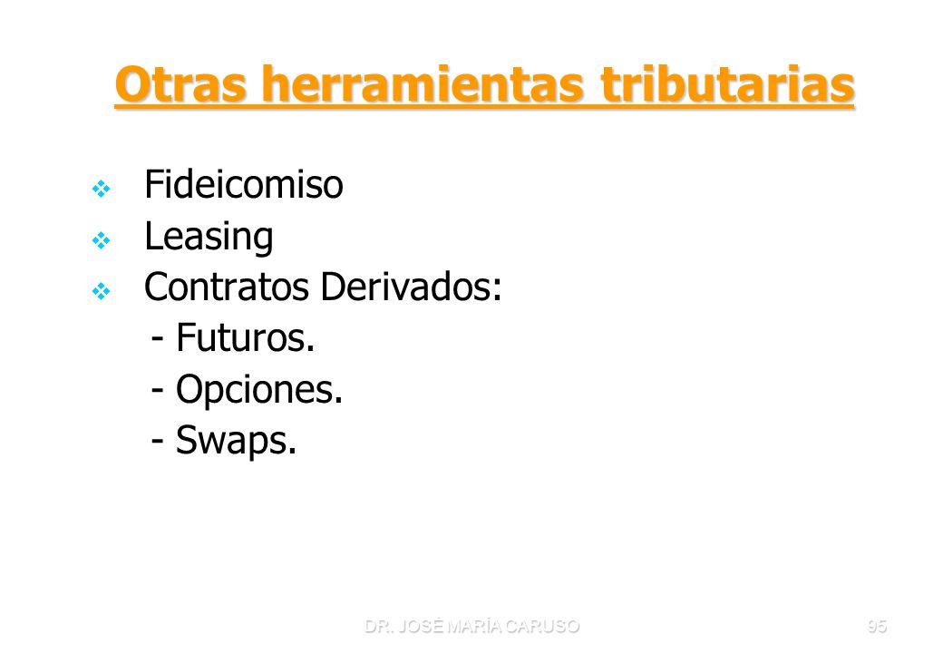 DR. JOSÉ MARÍA CARUSO95 Otras herramientas tributarias Fideicomiso Leasing Contratos Derivados: - Futuros. - Opciones. - Swaps.